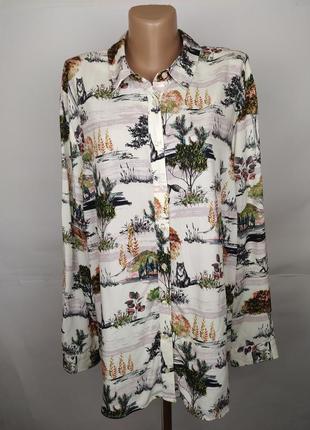 Блуза натуральная штапель в красивенный принт большой размер tu uk 22/50/4xl