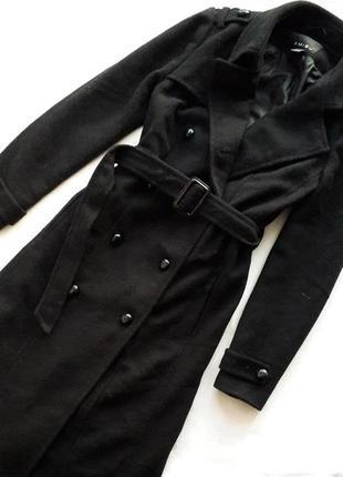Пальто с шерстью длины миди двухбортное amisu
