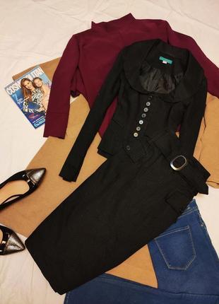 Костюм юбка пиджак чёрный в серую вертикальную полоску хлопок классический monsoon