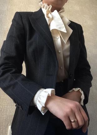 Серый шерстяной/с шерстью приталенный пиджак/жакет/блейзер в полоску