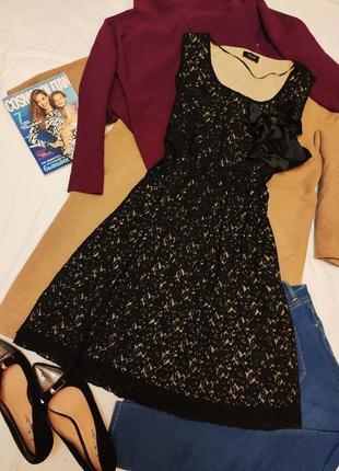 Платье миди чёрное кружево бежевая подкладка с бантом атласным большое батал yours