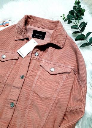 Пудровая вельветовая куртка stradivarius