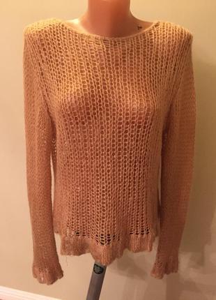 Классный свитер элитный бренд day копенгаген дания в составе шерсть,мохер цвет кэмел