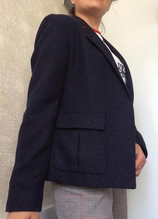 Крапчатый синий шерстяной пиджак/жакет/блейзер