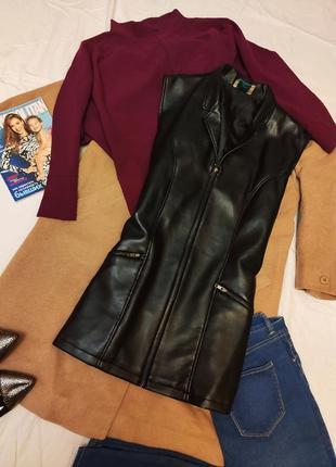 Жилетка жилет комбинированный черный кожа экокожа удлиненная с карманами