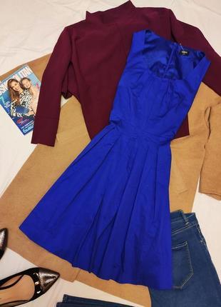 Платье синее классическое деловое офисное коттон хлопок миди на подкладке оазис oasis