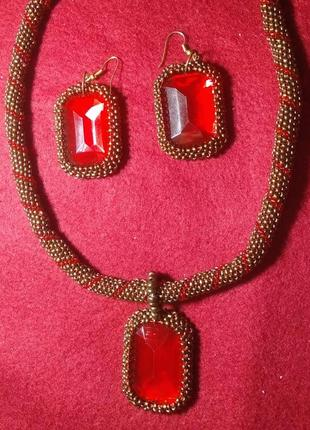 Комплект бронзовый с красным из бисера ручной работы