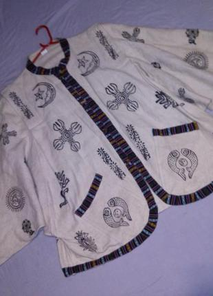 Натурал-100%коттон,куртка-жакет-кардиган в этно- бохо стиле,с карманами,бол.разм.непал