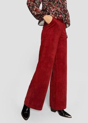 Винные 🍷 вельветовые широкие брюки stradivarius