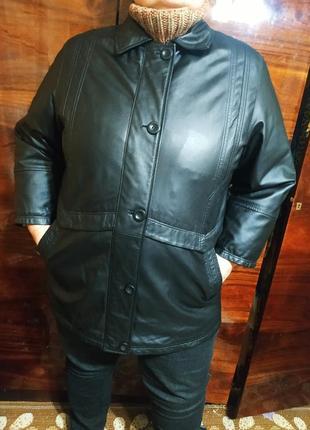 Куртка кожаная натуральная осенняя еврозима демисезонная большая широкая кожанка плащ