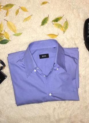 👔мужская голубая рубашка hugo boss оригинал/светло синяя рубашка деловая/строгая рубашка👔