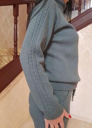 Тёплый зимний вязаный бесшовный брючный костюм