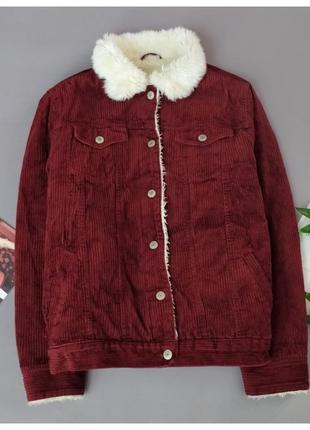 Крутая бордовая шерпа denim co джинсовая куртка с мехом
