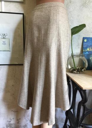 Шерстяная элегантная юбка, на подкладке, шлейф, ассиметрия, стиль, твид, качество