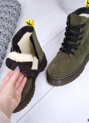 ❤️крутая новинка! мартинсы цвета оливка❤️натуральная замша женские ботинки