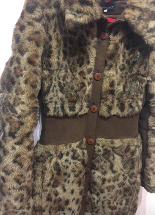 Длинная шуба леопардовая мутон эко мех