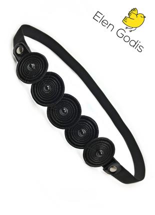 2в1/черный кожаный браслет/эластичный пояс/узкий ремень/лаковый/от дизайнера elen godis