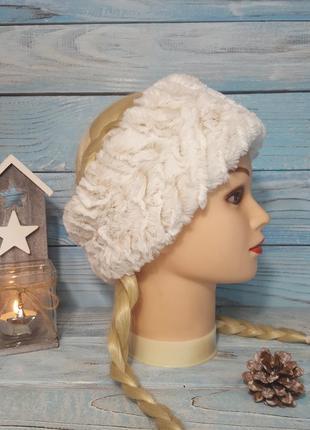 Белая теплая пушистая меховая плюшевая шапка повязка на ушки новогодняя эко мех