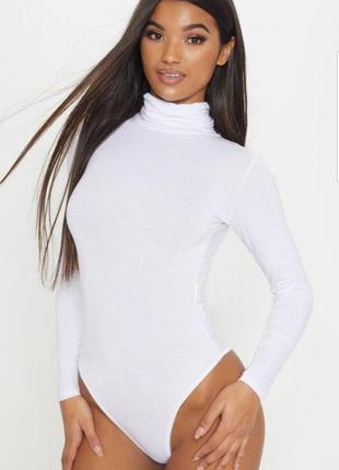 Белый боди pretty little thing размер uk8/нашs с длинным рукавом