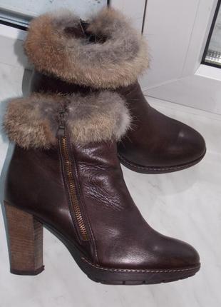 """Р.37 """"tosca blu"""" италия,зимние ботинки из натуральной кожи,шерсть стелька 24.5 см"""