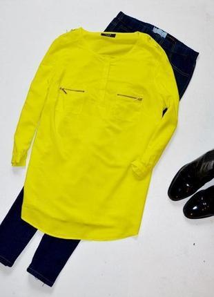Красивая лимонная блуза с молниями