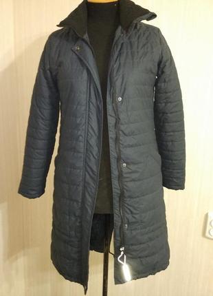 Стеганое пальто на синтепоне   бренд havana  размер s-м (36-38) цвет .темно-синий