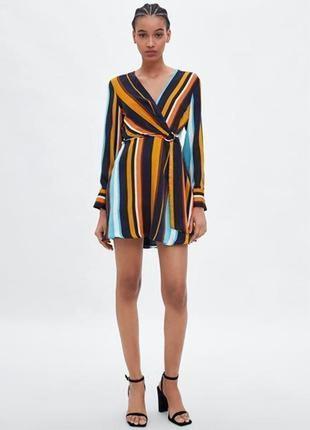 Крутое платье-рубашка на запах цветная полоска zara