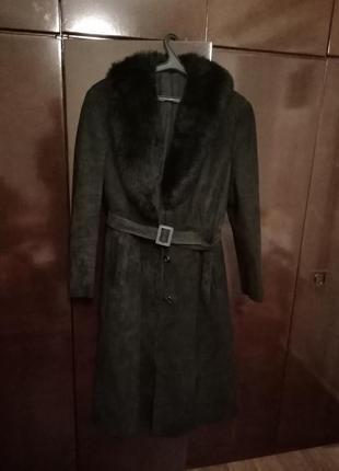 Пальто натуральный замш и лама