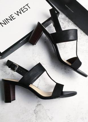 Nine west оригинал черные босоножки на небольшом каблуке