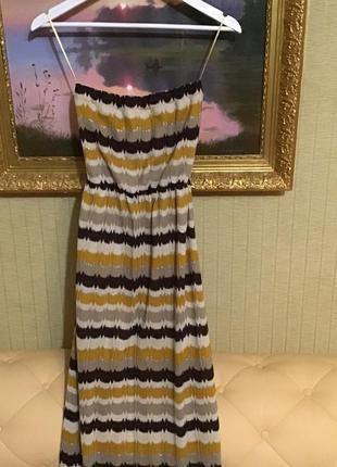 Вязанное платье в пол с открытыми плечами