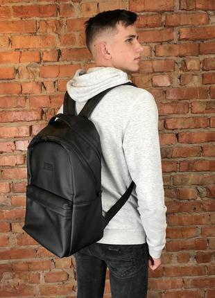 Мужской черный рюкзак в спортзал, экокожа