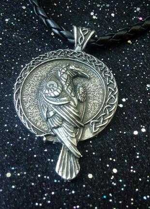 Женский мужской кулон в скандинавском стиле викинги норвегия ворон одина мунин хугин