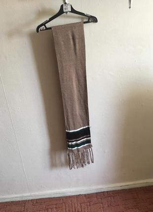 Шарф, шарф в полоску, шарф коричневый, осенний шарф