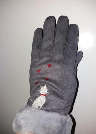 Перчатки меховые, рукавички
