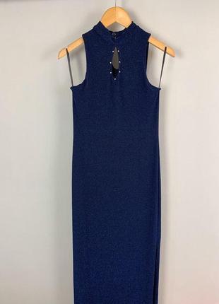 Вечернее люрексовое новогоднее блестящее платье макси с разрезом сбоку и жакетом