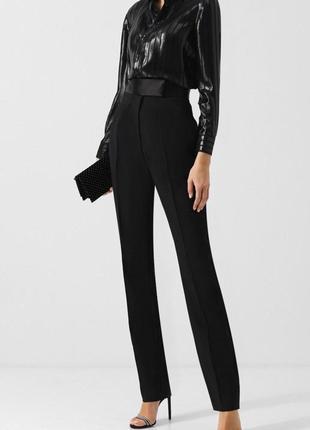 Черные классические брюки со стрелками на талии штаны с высокой посадкой