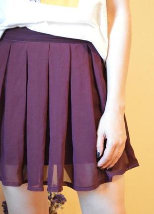 Бордовая плиссированная юбка ,шифоновая юбка