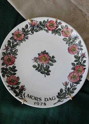 Коллекционная декоративная винтажная тарелка gustavsberg, посуда винтаж