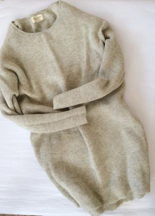 Крутое актуальное шерстяное платье миди alpaca soqiety вязаное оверсайз теплое мягкое
