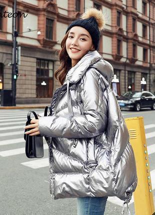 Куртка серебристая 🤩 плотная плащевка теплый пуховик с серебряным напылением|обмен
