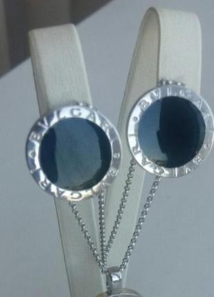 Серебряные серьги с эмалью родированные