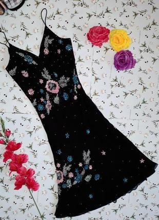 🌿1+1=3 стильное черное вечернее блестящее платье с вышивкой, длина миди, размер 46 - 48