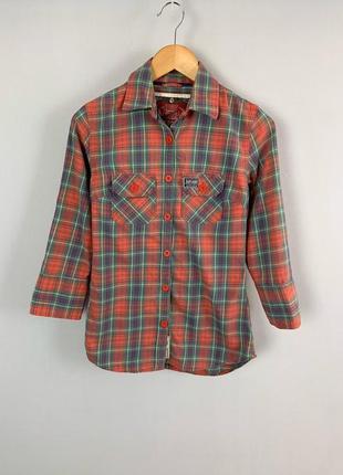 Натуральная плотная коттоновая рубашка в клетку superdry denim goods