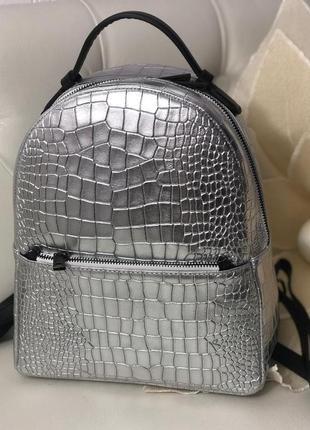 Очень классный стильный рюкзак натуральная кожа италия серебристый шкіряний