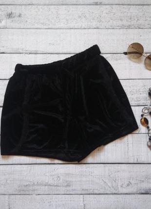 Ярко черные бархатное велюровые шортики от boohoo