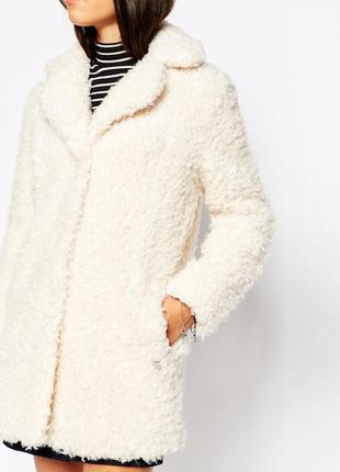 Пушистое пальто барашек/ мохнатая шуба/ белая шубка от george