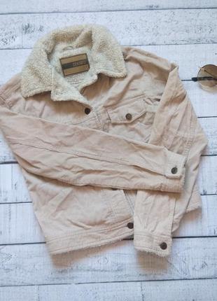 Вельветовый бежевый пиджак жакет