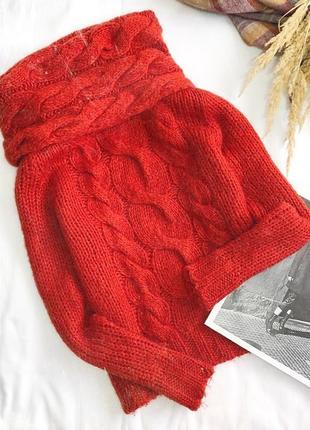 Актуальный трендовый насыщенный красный свитер с крупным горлом от h&m