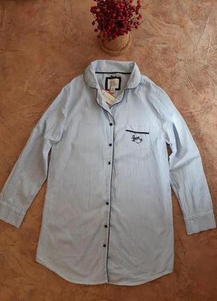 Удлинённая рубашка, халат для дома и сна в полоску от  love to lounge