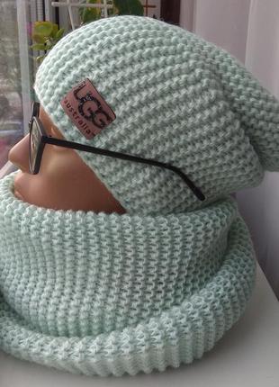 Новый комплект: шапка чулок (на флисе) и хомут восьмерка, бирюзовый